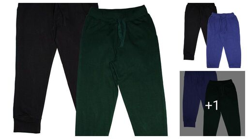 Boys Sporty Solid Cotton Track Pant Pack of 2
