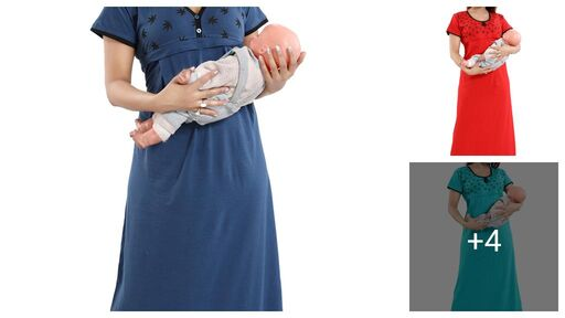 Comfy Women's Cotton Printed Maternity Gown