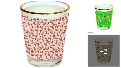 Unique Floral Design Golden Rim Shot Glasses