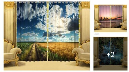 Trendy Polyester Printed Window Curtain