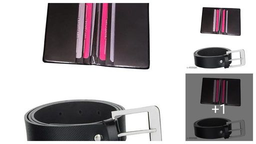 Men's Leather Card Holder & Belts Combo