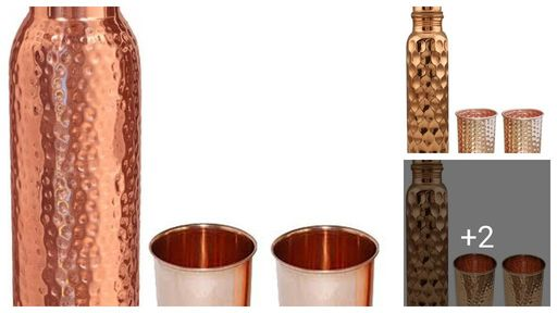 Attractive Copper Water Bottle & Glasses