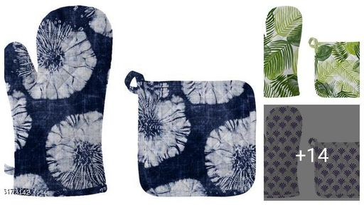 Elegant Fancy Women Gloves & Pot Holder Combo