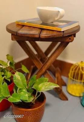 Wooden Beautiful Wooden Folding Side Table/Flower Pot Stand (Round)