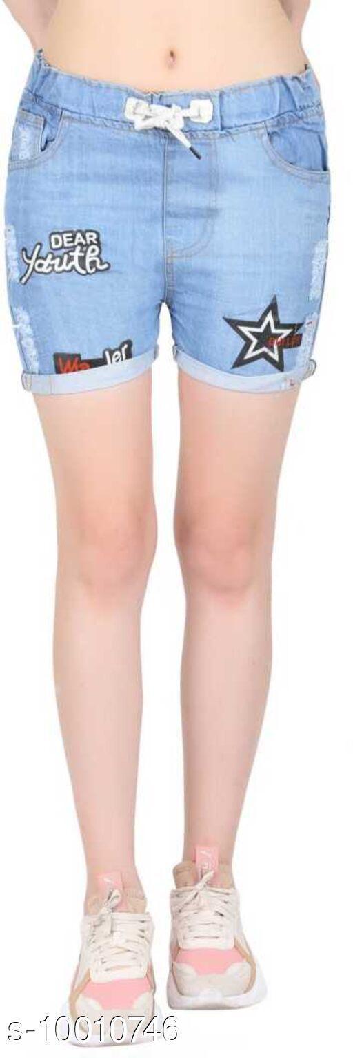 Shorts Beautifull Single Short  *Fabric* Denim  *Sizes*   *28 (Waist Size* 15 in, Length Size  *Sizes Available* 28 *    Catalog Name: Casual Feminine Women Shorts CatalogID_1788198 C79-SC1038 Code: 192-10010746-