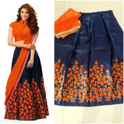 Designer Orange and nevy blue  Color  Benglory satin Material Wedding, Party,And Fastival Wear Lehengha choli For Women And Girls