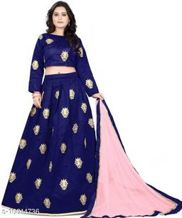 New designer benglory satin Material Blue color embroidery semi-stitched lehengha for women and girls