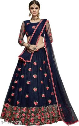 Designer Nevy color net material lahengha with dupatta set