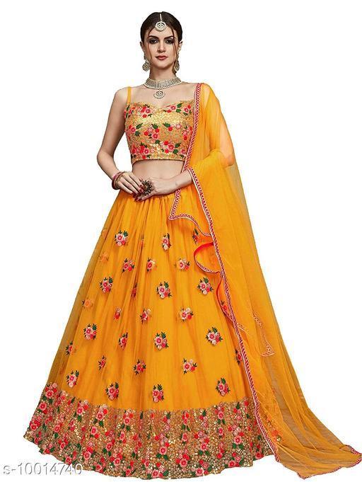 Designer Yellow color net material lahengha with dupatta set