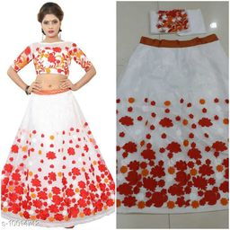 Designer Red and White Colour  Net Material semi sttiched lehenghacholi