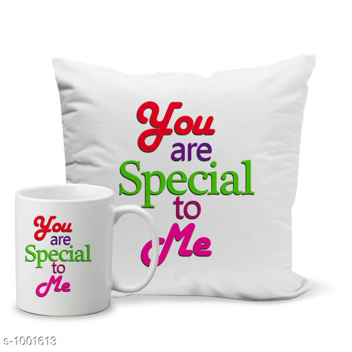 Accessories Designer Printed Mug And Cushion cover  *Material* Mug - Ceramic, Cushion - Satin  *Mug Capacity* 320 ml  *Size* Cushion - (L X W) - 12 in x 12 in  *Description* It Has 1 Piece Of Mug With 1 Piece Of Cushion  *Work* Mug - Printed, Cushion - Printed  *Sizes Available* Free Size *   Catalog Rating: ★3.5 (77)  Catalog Name: Valentine Beautiful Designer Printed Mugs And Cushion Cover Set Vol 2 CatalogID_119933 C127-SC1621 Code: 173-1001613-