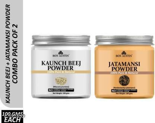 Face Bon Austin 100% Pure & Natural Kaunch Beej Powder & Jatamansi Powder Combo Pack of 2 Jars of 100 gms(200 gms) (200 g)  *Product Name* Bon Austin 100% Pure & Natural Kaunch Beej Powder & Jatamansi Powder Combo Pack of 2 Jars of 100 gms(200 gms) (200 g)  *Type* Cream  *Capacity * 200 ml  *Multipack* 2  *Sizes Available* Free Size *    Catalog Name:  Bon Austin 100% Pure & Natural Activated Charcoal Powder & Jatamansi Powder Combo Pack of 2 Jars of 100 gms(200 gms) (200 g) CatalogID_1789589 C51-SC1241 Code: 263-10016509-