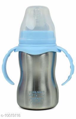 Stainless Steel Newborn Baby (2 in 1) Sipper/Feeding Bottle | Steel Feeder Cum Sipper - 290ml (Multicolor)