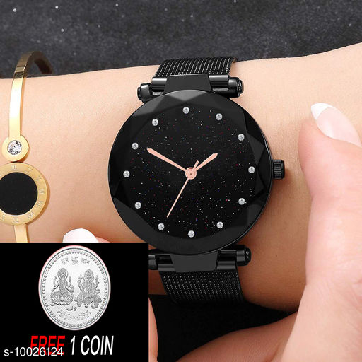 Free Silver Color Coin with Magnet Black Dial, Diamond Hours  & Black Belt Analogue Girls Watch ( PCS :- 1)