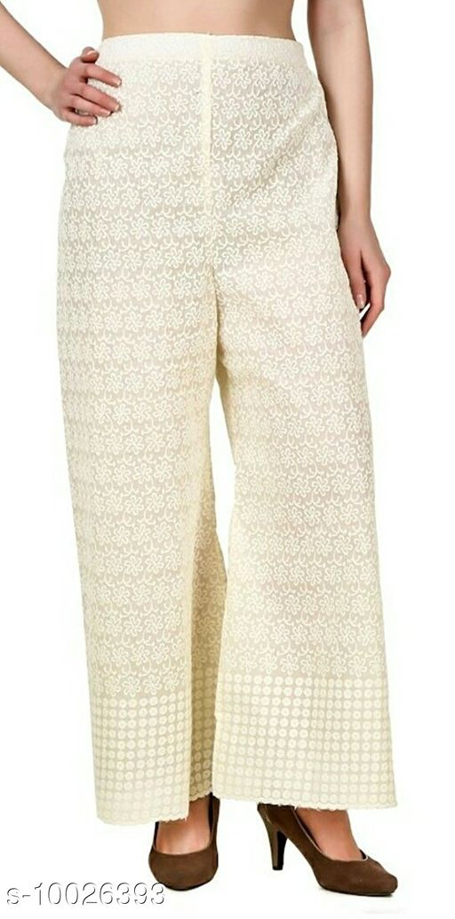 Madhuban Women's Cotton Lucknow Chikan Embroidered Palazzo (Free size)