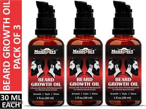 Hair Care Mensport Beard Growth Oil - Blend of Premium Oils For Beard Growth & Nourishment Combo pack of 3 Bottles of 30 ml(90 ml) Hair Oil (90 ml)   *Brand* Mensport  *Type* Hair Oil  *Multipack* 2  *Capacity* 90 ml  *Sizes Available* Free Size *    Catalog Name:  Advanced Gentle Beard Oil & Wax CatalogID_1792359 C50-SC1249 Code: 055-10028142-