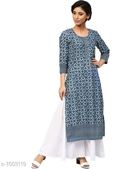 Kurtis & Kurtas Designer Style Designer Kurtis   *Fabric* Rayon  *Sleeves* 3/4 Sleeves Are Included  *Size* Kurti - S- 36 in, M- 38 in, L- 40 in, XL- 42 in , XXL - 44 in , 3XL - 46 in  *Length* Up To 46 in  *Type* Stitched  *Description* It Has 1 Piece Of Kurti  *Work* Printed  *Sizes Available* S, M, L, XL, XXL, XXXL *    Catalog Name: Designer Style Designer Kurtis Vol 2 CatalogID_120168 C74-SC1001 Code: 604-1003119-