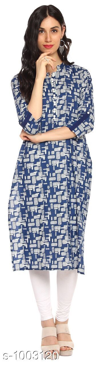 Kurtis & Kurtas Designer Style Designer Kurtis   *Fabric* Cotton  *Sleeves* 3/4 Sleeves Are Included  *Size* Kurti - S- 36 in, M- 38 in, L- 40 in, XL- 42 in , XXL - 44 in , 3XL - 46 in  *Length* Up To 46 in  *Type* Stitched  *Description* It Has 1 Piece Of Kurti  *Work* Printed    *Sizes Available* S, M, L, XL, XXL, XXXL *    Catalog Name: Designer Style Designer Kurtis Vol 2 CatalogID_120168 C74-SC1001 Code: 604-1003120-