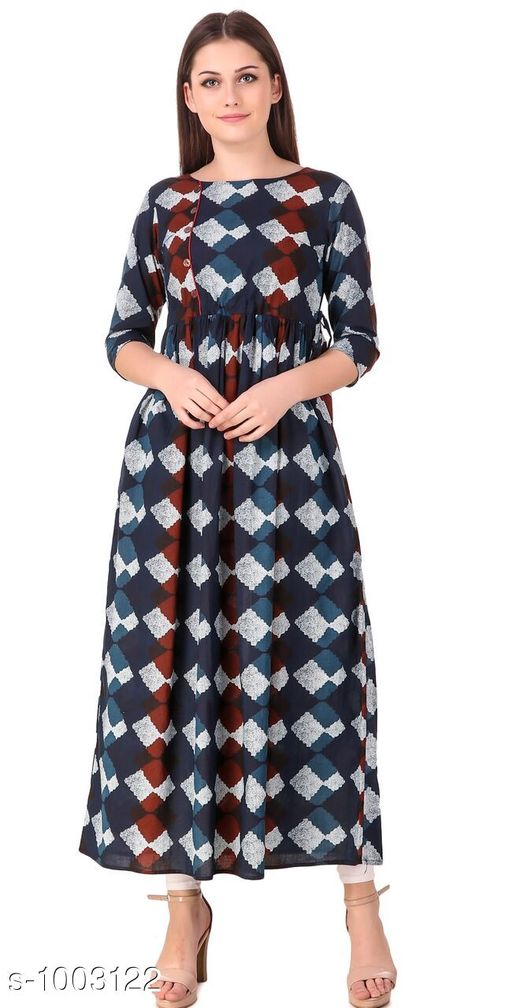 Kurtis & Kurtas Designer Style Designer Kurtis   *Fabric* Cotton  *Sleeves* 3/4 Sleeves Are Included  *Size* Kurti - S- 36 in, M- 38 in, L- 40 in, XL- 42 in , XXL - 44 in , 3XL - 46 in  *Length* Up To 46 in  *Type* Stitched  *Description* It Has 1 Piece Of Kurti  *Work* Printed    *Sizes Available* S, M, L, XL, XXL, XXXL *    Catalog Name: Designer Style Designer Kurtis Vol 2 CatalogID_120168 C74-SC1001 Code: 883-1003122-