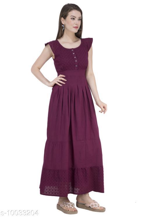 SAAKAA Women's Cotton Maroon Dress