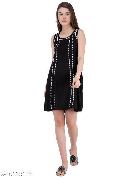 SAAKAA Women's Cotton Black Dress