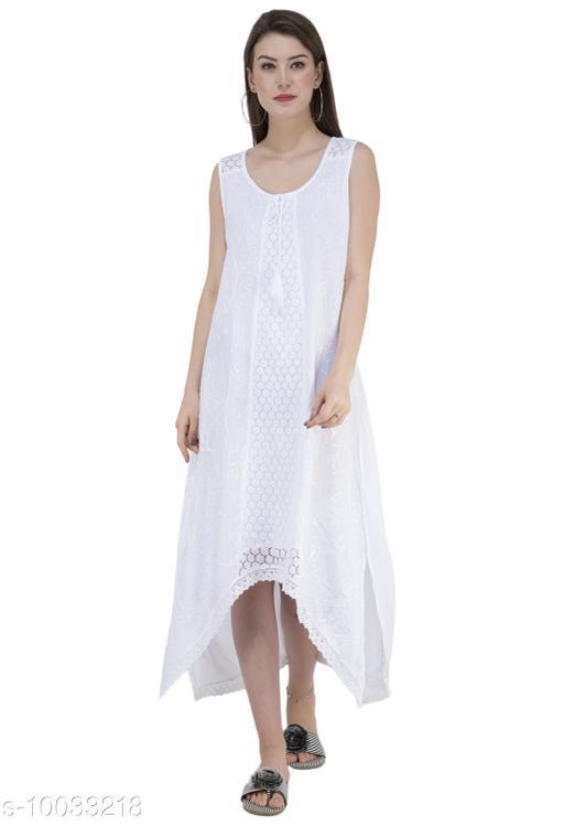 SAAKAA Women's Cotton White Dress
