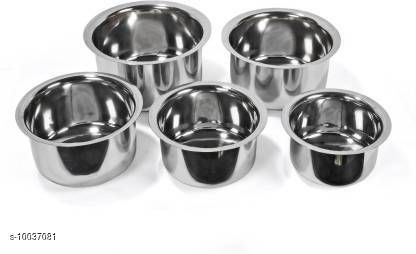 Set of 5 Stainless Steel Tope Patila Pot, 0.5 to 2.5 litres Tope Set  (Stainless Steel)