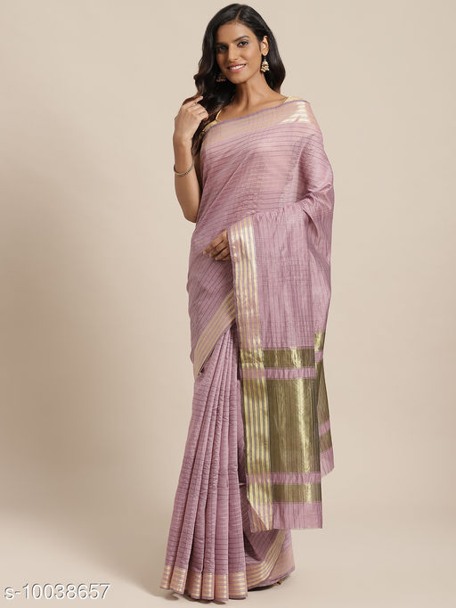 Purple Colored Checked Chanderi Silk Saree With Blouse Piece.