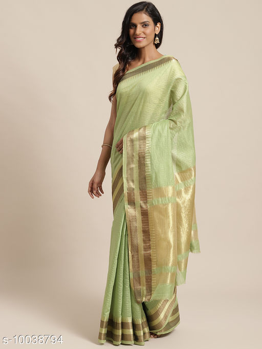 Green Colored Checked Chanderi Silk Saree With Blouse Piece.