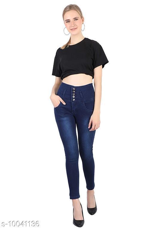 Prabhuratan High Waist Denim Slim Fit Jeans for Women's and Girl's, Size- 28, Color-Dark Blue