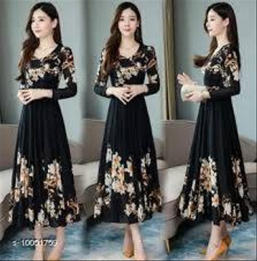 RAABTA BLACK BRDER 01 PRINTED LONG DRESS