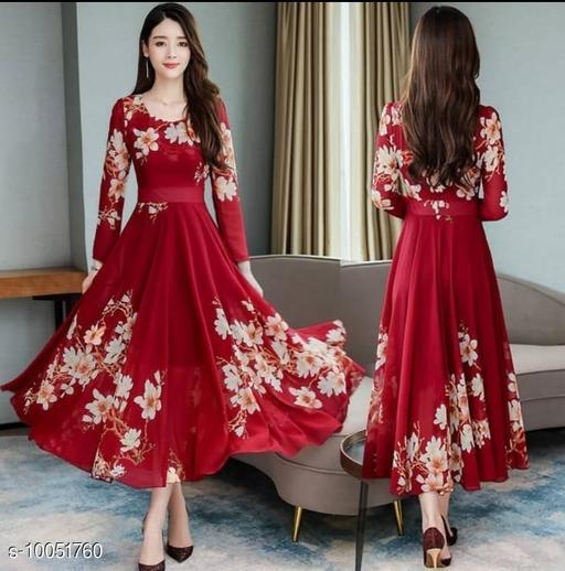 RAABTA RED BRDER 01 PRINTED LONG DRESS