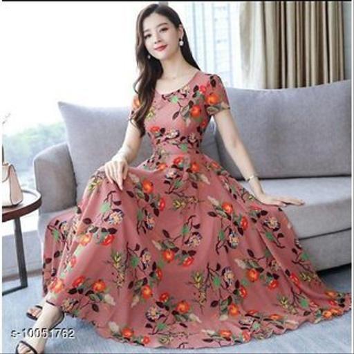 RAABTA BLUISH PINK FLWER PRINT LONG DRESS