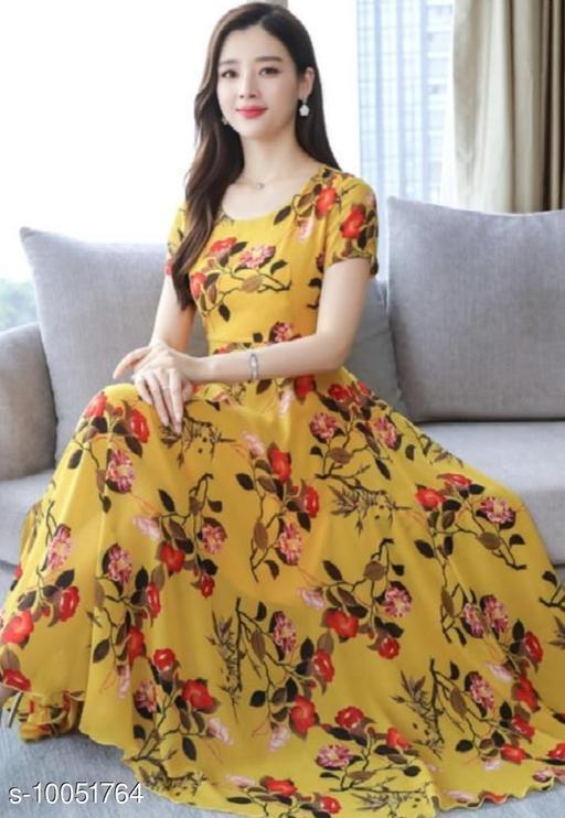 RAABTA MUSTARD 30 FLWER PRINTED LONG DRESS