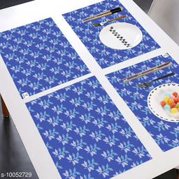 E-Retailer® MultiPurpose Set of 6 PVC Waterproof Placemats/Table Mats for Dining Table (Blue, Size: 44x29 cm)
