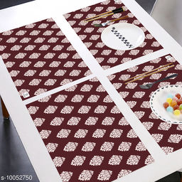 E-Retailer® MultiPurpose Set of 6 PVC Waterproof Placemats/Table Mats for Dining Table (Maroon, Size: 44x29 cm)