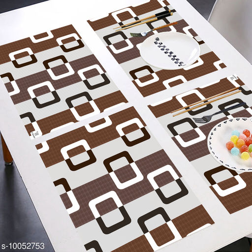 E-Retailer® MultiPurpose Set of 6 PVC Waterproof Placemats/Table Mats for Dining Table (Brown, Size: 44x29 cm)