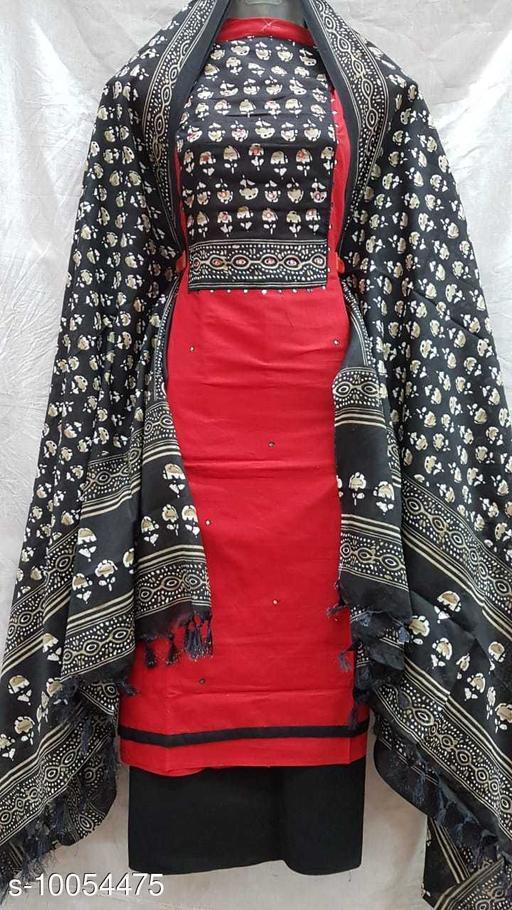 Slub Cotton Dress Material-Red