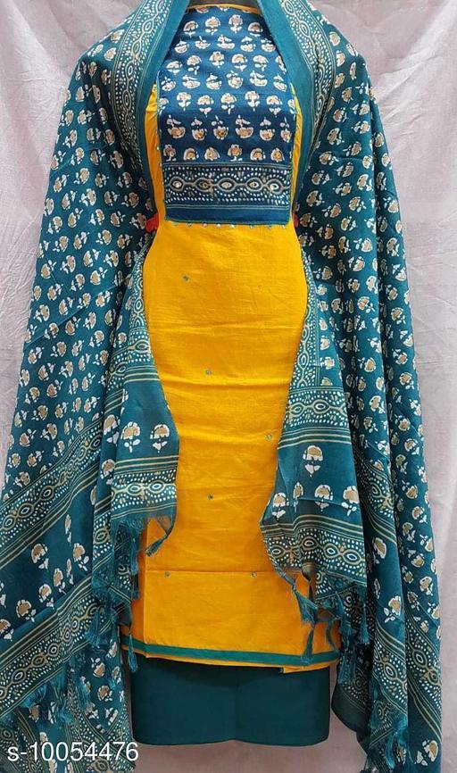 Slub Cotton Dress Material-Yellow