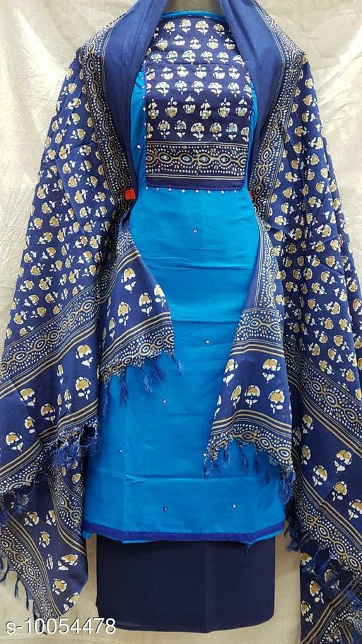 Slub Cotton Dress Material-Blue