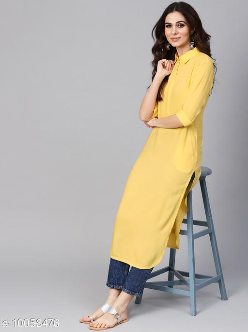 Women Rayon Straight Solid Yellow Kurti