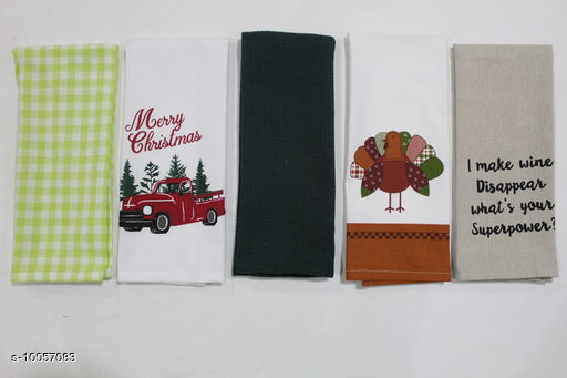 Towel 100% Cotton Kitchen Towel    *Material* Cotton  *Multipack* 5  *Sizes*  Free Size  *Sizes Available* Free Size *    Catalog Name: 100% Cotton Kitchen Towel   CatalogID_1799051 C129-SC1634 Code: 121-10057083-