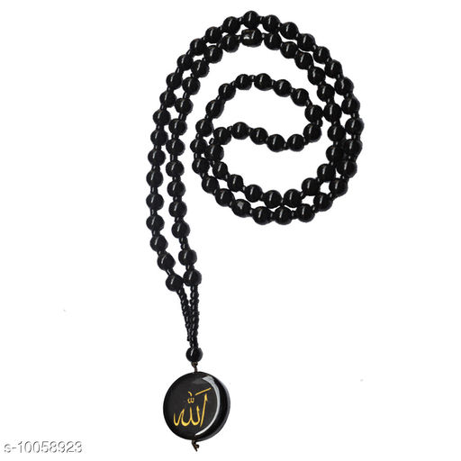 Sullery 6mm Crystal Bead  Arabic  Allah Circle Tone    Black  Crystal Circle Pendant Necklace For Men And Women