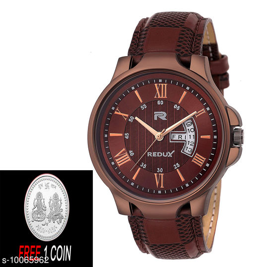 FREE 1 PCS SILVER COLOR COIN Analogue brown Dial with day and date disply dail Mens Watch