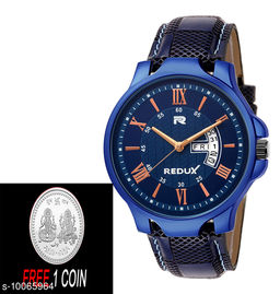 FREE 1 PCS SILVER COLOR COIN Analogue blue Dial with day and date disply dail Mens Watch