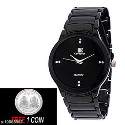 FREE 1 PCS SILVER COLOR COIN Analogue Black Dial Basics Wrist Watch for Men - IIK Full BK Men