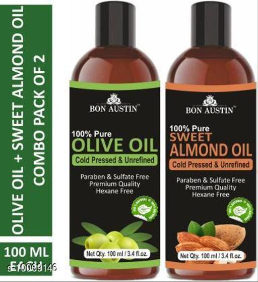 Bon Austin Premium Olive Oil & Sweet Almond Oil - Cold Pressed & Unrefined Combo pack of 2 bottles of 100 ml(200 ml) (200 ml)
