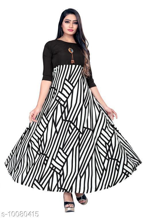 Women's Beautiful Party Wear Printed Crepe Anarkali Long Gown