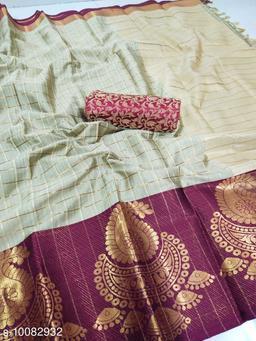Soft Silk Gajri Color saree with zalar pallu and bouse