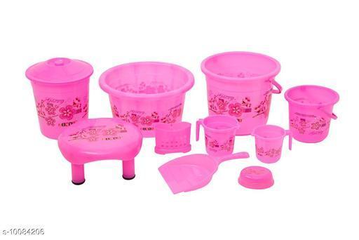 Bath Sets 10 Pieces Plastic Bathroom Set Pink  *Pack* Multipack  *Sizes Available* Free Size *    Catalog Name: Fancy Bath Sets CatalogID_1806235 C132-SC1587 Code: 529-10084206-